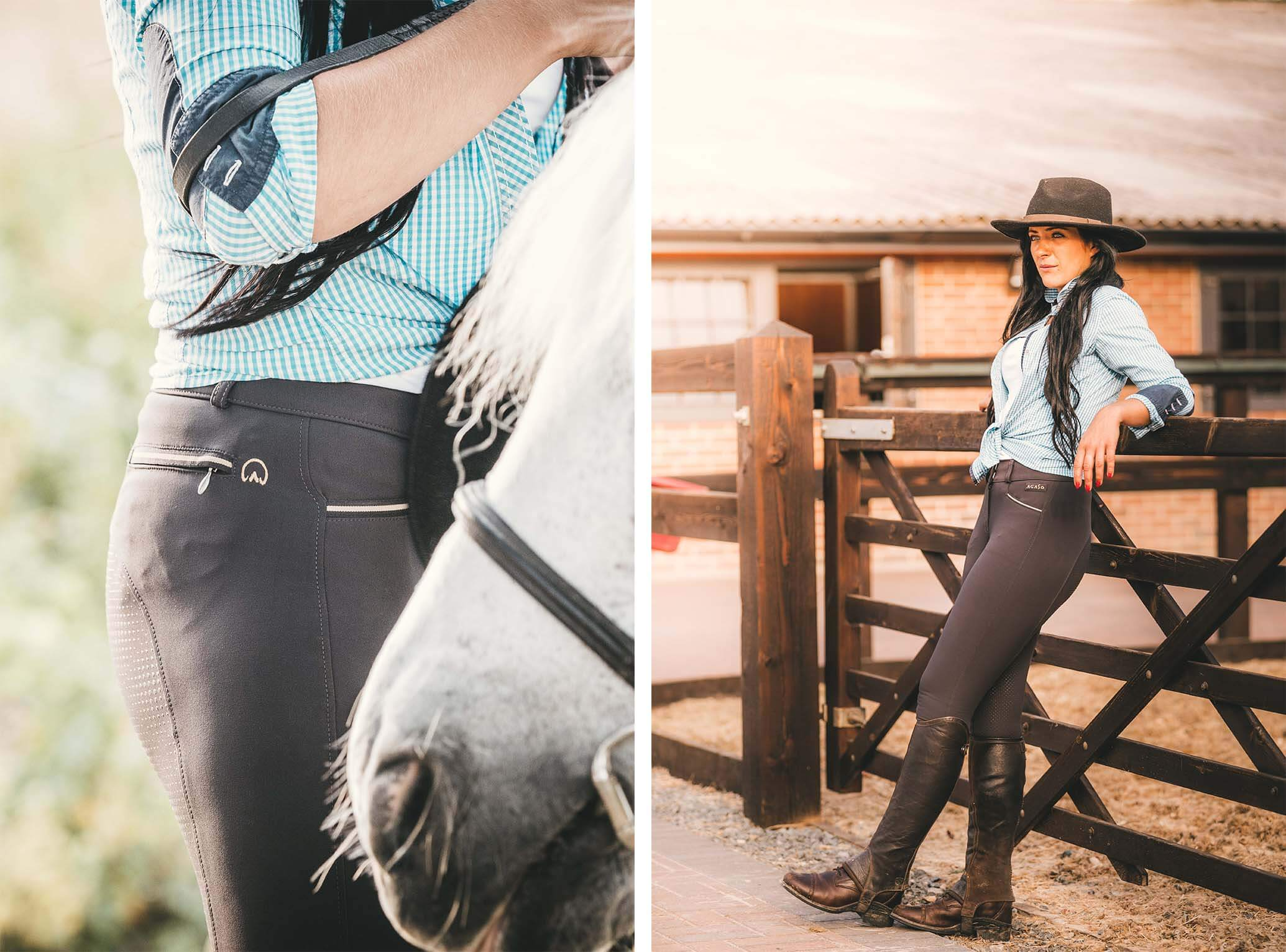 Clothing images in an equestrian setting