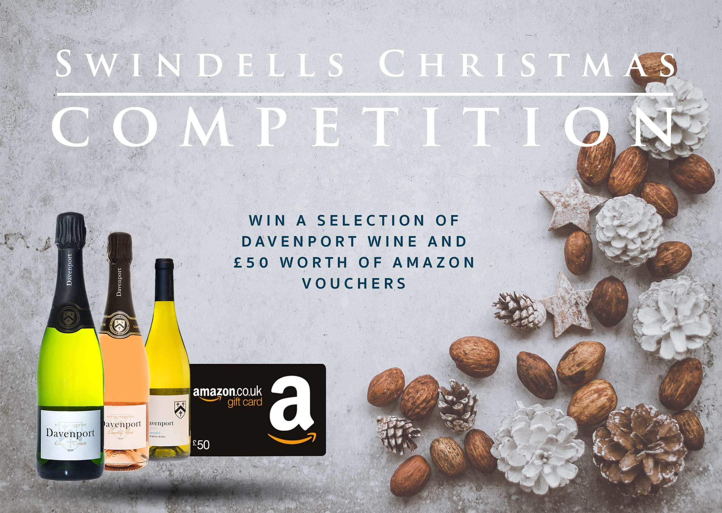 Swindells Christmas competition wine bottles and amazon voucher